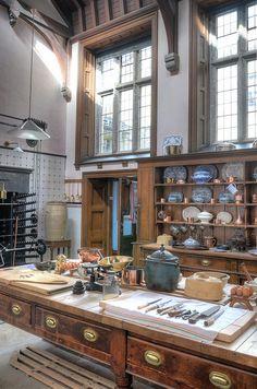 Lanhydrock House Kitchen. Bodmin, Cornwall, England. Circa 1880's Style Kitchen.