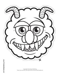 Color in this unique monster mask, which includes big fangs and two horns. This mask is great for last minute Halloween costumes because it can be printed at home and colored in quickly. Free to download and print