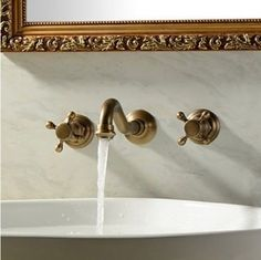 Wall-Mounted-Widespread-Basin-Mixer-Tap-Antique-Brass-Sink-Faucet