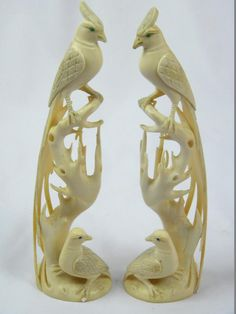 Pair of Ivory Birds Marked Qianlong, size: H: 12