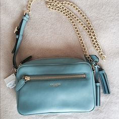 HOST PICK Coach bag. Fresh Fashion Party 8/22 Beautiful robins egg blue. Gold chain & zippers. Brand new with tags. Dust bag included. Final reduction! Coach Bags