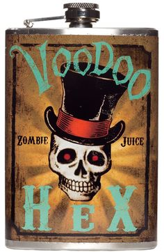 VOODOO HEX ZOMBIE JUICE FLASK Blend in with the undead easily by taking a sip of Zombie Juice! This original design from Trixie & Milo features a voodoo skull on a stainless steel flask. $26.00 #flask #housewares #voodoo #zombie