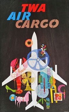 Original vintage travel poster TWA Air Cargo - David Klein