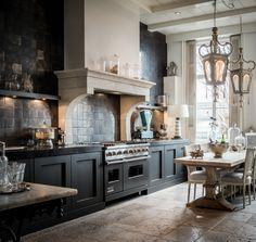 Kitchen, metallic tiles, witjes, antique floor tiles, interior, dining table, lantern, chimney piece
