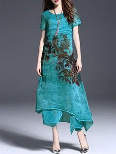 Blue Elegant Crew Neck Linen Floral Maxi Dress