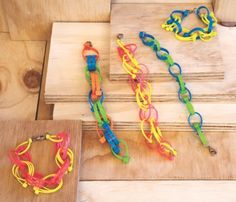 Simple Kid's Craft Project - zip tie jewelry (you can get neon zip ties at the dollar store). *Not sure I have ever seen those, but I am def going to look! Craft Projects For Kids, Easy Crafts For Kids, Crafts To Make, Art For Kids, Craft Ideas, Art Projects, Diy Ideas, Tie Crafts, Book Crafts
