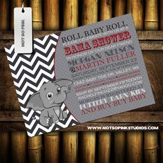 Baby Shower Invitation  Baby Elephant  Gray by NotSoPinkDesigns, $15.00