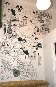 Wall-design Trendy Wandmalerei Cafe Murals 63 Ideen Gardening advice from nearly ever Wall Murals Bedroom, Mural Wall Art, Graffiti Wall, Mural Painting, Art Walls, Mural Cafe, Doodle Wall, Murals Street Art, Wall Drawing