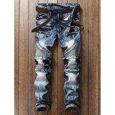 Zippered Rib Panel Pocket Straight Jeans | TwinkleDeals.com