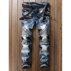 Zippered Rib Panel Pocket Straight Jeans   TwinkleDeals.com