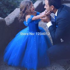 Royal Blue Flower Girl Dresses for Weddings 2017 Cinderella Girls Dress Princess Children Party Ball Gown First Communion Dress