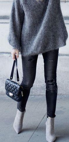 #winter #fashion / monochrome knit