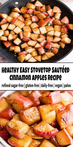 All these Stovetop Sautéed Cinnamon Apples taste like a hot apple pie, but they come together in 5 minutes and are SO much healthier! This recipe produces a perfect for breakfast, and a snack, or dessert and is gluten, dairy and refined sugar-free! Apple Recipes Easy Quick, Easy Healthy Recipes, Baby Food Recipes, Cooking Recipes, Healthy Desserts, Healthy Apple Snacks, Recipes For Apples, Dessert Recipes, Baked Cinnamon Apples