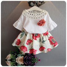 Girls Clothing Sets 2017 Summer Fashion Style New Girls Clothing Sets Kids Wear Flower + Skirts Children Simple Suits Clothes - Kid Shop Global - Kids & Baby Shop Online - baby & kids clothing, toys for baby & kid Baby Outfits, Little Girl Dresses, Kids Outfits, Girls Dresses, Summer Outfits, Dress Outfits, Dress Clothes, Summer Clothes, Clothes For Kids