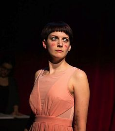 Erin Pike as the voice and body of several female characters from <em>American Theater's</em> list of the 11 most-produced plays of the 2014--2015 season.