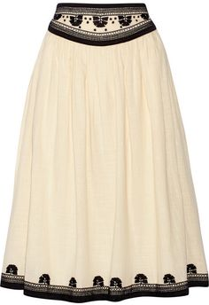 Suno Embroidered cotton midi skirt