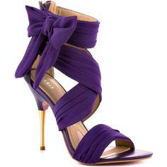 Paris Hilton Women's Selene - Purple Chiffon (135 AUD) ❤ liked on Polyvore featuring shoes, sandals, heels, purple, purple shoes, trendy, stiletto heels, ankle strap, open toe and women