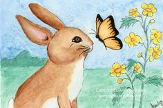 Nursery Art  Rabbit and Butterfly  4 x 6 by AnnetteBailey on Etsy