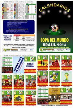 ¡¡ 2A - CALENDARIO del MUNDIAL !!  Díptico con 12 modelos de calendarios del Mundial donde, a partir de 250 uds/modelo por 46 € + IVA, se incluye su publicidad por una de las caras a todo color.  El Diseño viene incluido en el precio.  Para más información y solicitud de presupuestos, sin ningún tipo de compromiso, no dude en contactarnos.  #mundial #futbol #publicidad #comunicacion #marketing #regalosdeempresa #leonesp #merchandising #Copadelmundo #Mundial2014 #Brasil2014