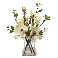 Artificial Flowers White Magnolia Arrangement With Vase Silk Flowers Silk Floral Arrangements, Artificial Flower Arrangements, Artificial Flowers, Home Flower Arrangements, Fake Flowers, Silk Flowers, White Flowers, Beautiful Flowers, Tropical Flowers