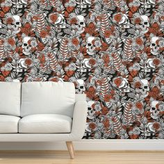 Commercial Grade Wallpaper Swatch - Vintage Anatomy Skulls Roses Spooky Medicine Traditional Wallpaper by Spoonflower