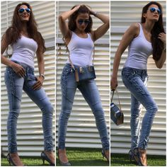 Shilpa Reddy Style File Denim Story  Designer Shilpa Reddy styles skinny denims with white tank top with complimenting denim pumps and sling bag.  #shilpareddy #denimstory #streetstyle #denimstyle #tanktop #denimheels #stylefile #instafashion #instastyle #indianfashionblogger #summerfashion #casualstyle #aviators #streetstyle