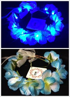 Blue-LED flower crown/floral headband light up flower by EDMfairy