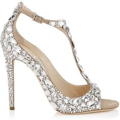 ROX 110 Nude Suede, Crystal Covered Peep Toe Pumps