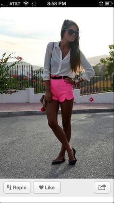 2013 Summer Outfit Pink Neon, Tan Skin & White Shirt Perfect Match  #summer #outfit #2013 #tan #pink #neon #white
