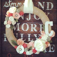 Wreath, spring wreath, summer wreath, monogram wreath, year round wreath, everyday wreath, burlap wreath