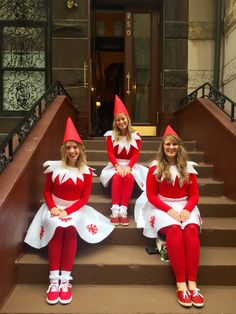 Adult Elf on the Shelf costumes. Perfect for a girls costume idea for SantaCon! | www.emmasexploring.com