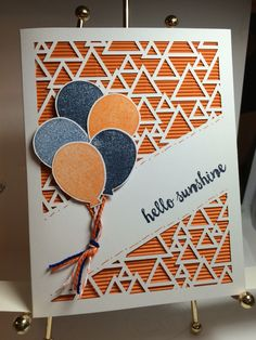 Many Manly Occassions - May 2016 - alternative ideas - **photo only Scrapbook Supplies, Scrapbook Cards, Scrapbooking, Stampin Up Paper Pumpkin, Pumpkin Cards, Up Balloons, Shaped Cards, Embossed Cards, Cards For Friends