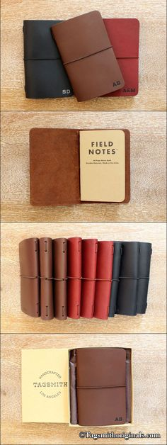 Gifts for him - Check out this sweet Field Notes size travelers notebook. It's the perfect gift for just about anyone, including yourself. Comes in a gift box too! Pocket Notebook, Notebook Covers, Journal Covers, Presents For Men, Unique Presents, Word Notebooks, Field Notes, Leather Notebook, Valentines Day Gifts For Him