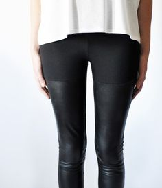 Black Leather Panel Leggings- cute to wear with shorts or a akirt