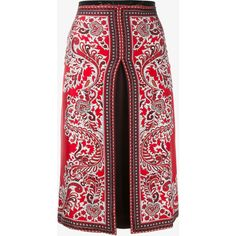 Alexander Mcqueen Alexander Mcqueen Slit Paisley Skirt (11.122.720 VND) ❤ liked on Polyvore featuring skirts, bottoms, saias, red, paisley print skirt, alexander mcqueen skirt, red knee length skirt, slit skirt and red skirt