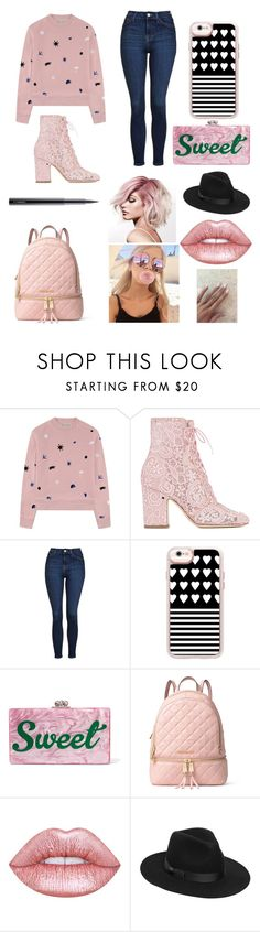 """Pink Gold Causal Outfit"" by oliviaballard04 ❤ liked on Polyvore featuring Être Cécile, Laurence Dacade, Topshop, Casetify, Edie Parker, MICHAEL Michael Kors, Lime Crime, Lack of Color and MAC Cosmetics"