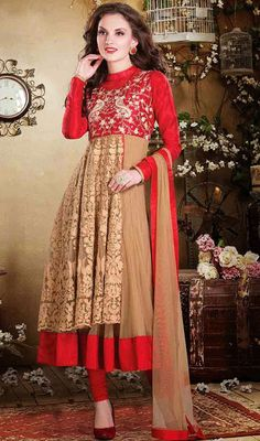 Beige and Red Net Silk Layered Anarkali Suit Price: Usa Dollar $232, British UK Pound £137, Euro170, Canada CA$249 , Indian Rs12528.