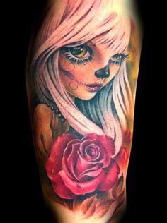 Tatuagem Caveira Mexicana por Tatuajes Demon