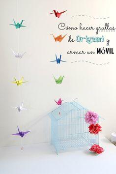 Cómo hacer grullas de origami y armar un móvil - Guía de MANUALIDADES Diy And Crafts, Arts And Crafts, Origami Animals, Do It Yourself Projects, Diy Projects, Baby Shower, Crafty, Home Decor, Ideas Para