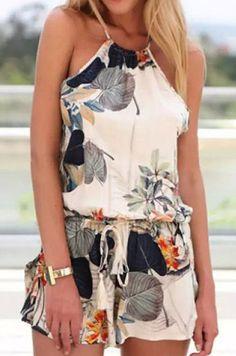Stylish Round Neck Sleeveless Criss-Cross Printed Women's Romper #Floral #Print #Stylish #Romper #Fashion