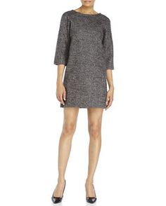 ROBERTO COLLINA Tweed Shift Dress - I like the 3/4 sleeves, simple shape, color and texture
