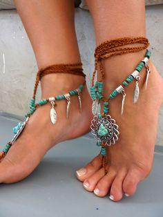 Barefoot Sandals Barefoot Beach Jewelry gemstones от SoftCrystal