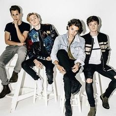 Oh. My. Gosh. Brad's hair! James' pose. Connor's eyes. Tristan's clothes. I now understand what perfection is. The Vamps Brad Simpson, James McVey, Connor Ball and Tristan Evans.