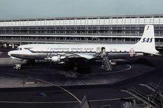 SAS Scandinavian Airlines Douglas DC-7C Seven Seas at Copenhagen Kastrup Airport 1966