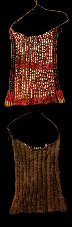 Africa | Girl's apron from the Turkana people of Northern Kenya | Animal hide and glass beads. || Seller indicates that this is from the Masai people || Ethnic Jewelry, Kenya, Glass Beads, Apron, Ornament, African, Traditional, Animal, Inspiration