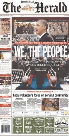 The 27 Best Local Newspaper Front Pages About The Inauguration Newspaper Front Pages, Herald News, Headline News, First Story, Black History Month, Obama, Brownsville Texas, Diversity, Beauty