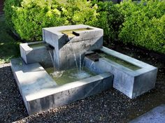 fountains and water features modern garden fountains water features Contemporary Outdoor Fountains, Contemporary Water Feature, Diy Water Feature, Backyard Water Feature, Contemporary Garden, Cheap Landscaping Ideas, Yard Landscaping, Concrete Fountains, Garden Water Fountains