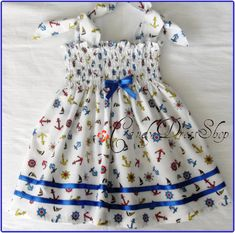 Sailors Patterned Dress for baby girls (Available in size 3months to 3 years) Blue and white patterned dress-Baby dress-Easter dress