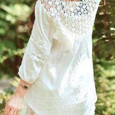 grzxy6600247 Sweet Elegant Floral Crochet Lace Spliced White T-shirt 1a69aac66b17