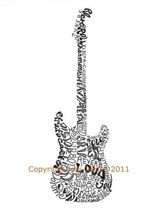Musical Instrument Art Electric Guitar Art Word by CalligramORama, $19.50